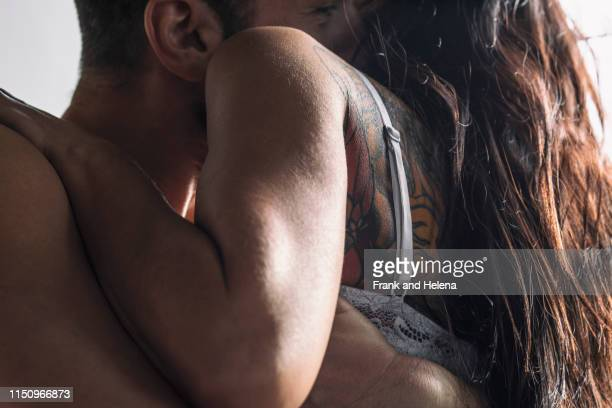 semi-naked hipster couple bonding at home - birthday suit stock pictures, royalty-free photos & images