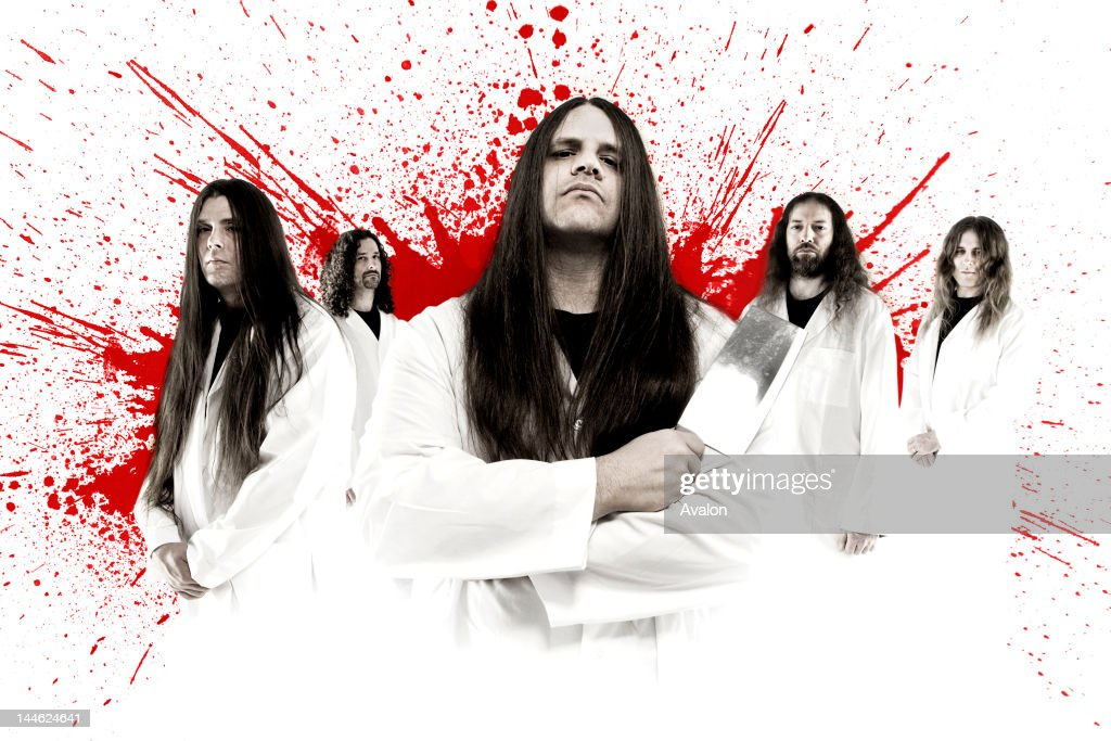 Seminal death metal band Cannibal Corpse, shot in a studio in their home city of Tampa, Florida, -; : News Photo