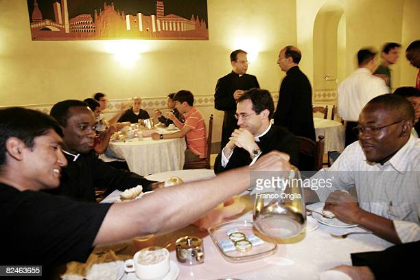 seminarians have breakfast in the refectory of the Opus Dei's seminary 'Sedes Sapientiae' on June 4 in Rome Italy The college hosts seminarians...