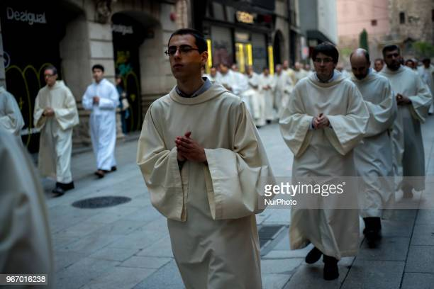 Seminarians parade during the Corpus Christi procession in Barcelona Spain on 3rd June 2018 The solemnity of Corpus Christi in Barcelona has...