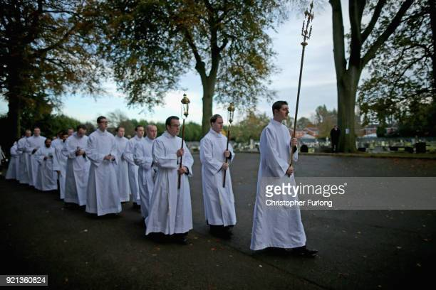 BIRMINGHAM ENGLAND Seminarians process to Oscott College Cemetery where they take part in the blessing of the graves ceremony on November 9 in...