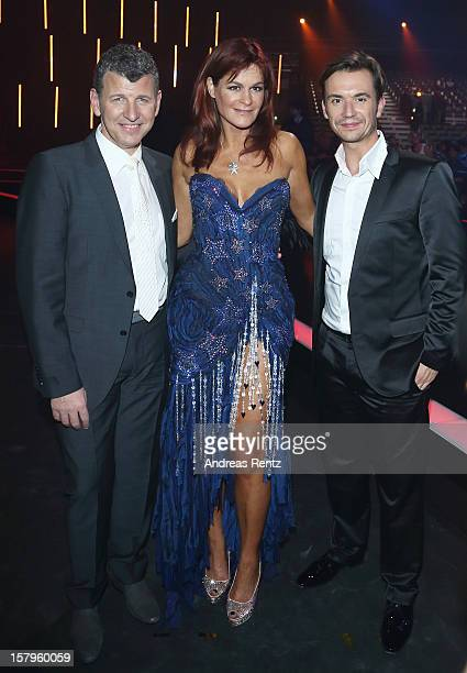 Semino Rossi, Andrea Berg and Florian Silbereisen attend the Andrea Berg 'Die 20 Jahre Show' at Baden Arena on December 7, 2012 in Offenburg, Germany.