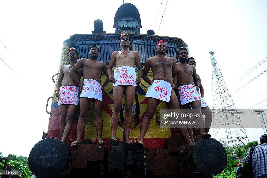 Semi-Nude Indian Samajwadi Party Student Union Workers -3374