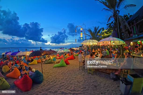 seminyak double six beach bars - indonesia photos stock photos and pictures