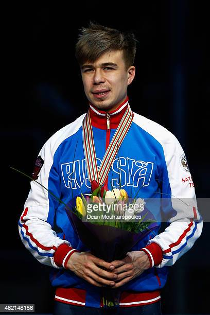 Semion Elistratov of Russia poses on the podium after his bronze medal in Final standings during day 3 of the ISU European Short Track Speed Skating...
