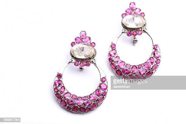 Semi-Precious Pink Kunzite with Zircon Earrings