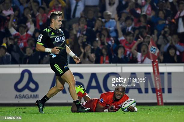 Semisi Masirewa of the Sunwolves celebrates scoring his side's second try during the Super Rugby match between Sunwolves and Hurricanes at the Prince...