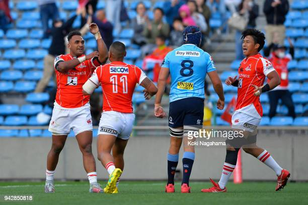 Semisi Masirewa of the Sunwolves celebrates scoring his side's third try with his team mates during the Super Rugby match between Sunwolves and...