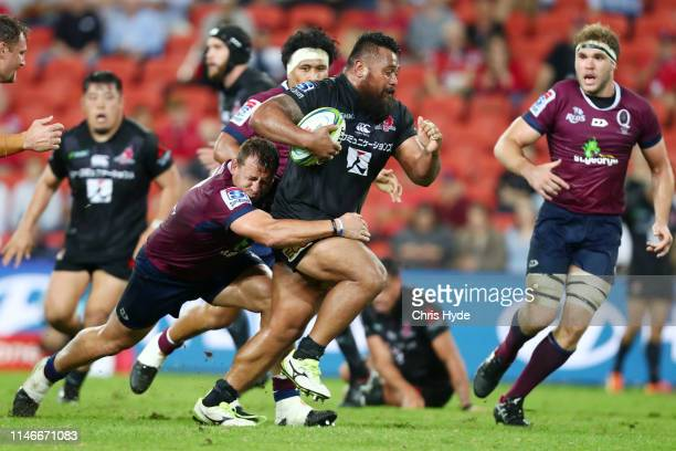Semisi Masirewa of the Sunwolves is tackled during the round 12 Super Rugby match between the Reds and the Sunwolves at Suncorp Stadium on May 03...