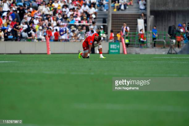 Semisi Masirewa of the Sunwolves shows dejection after the Super Rugby match between Sunwolves and Brumbies at the Prince Chichibu Memorial Ground on...