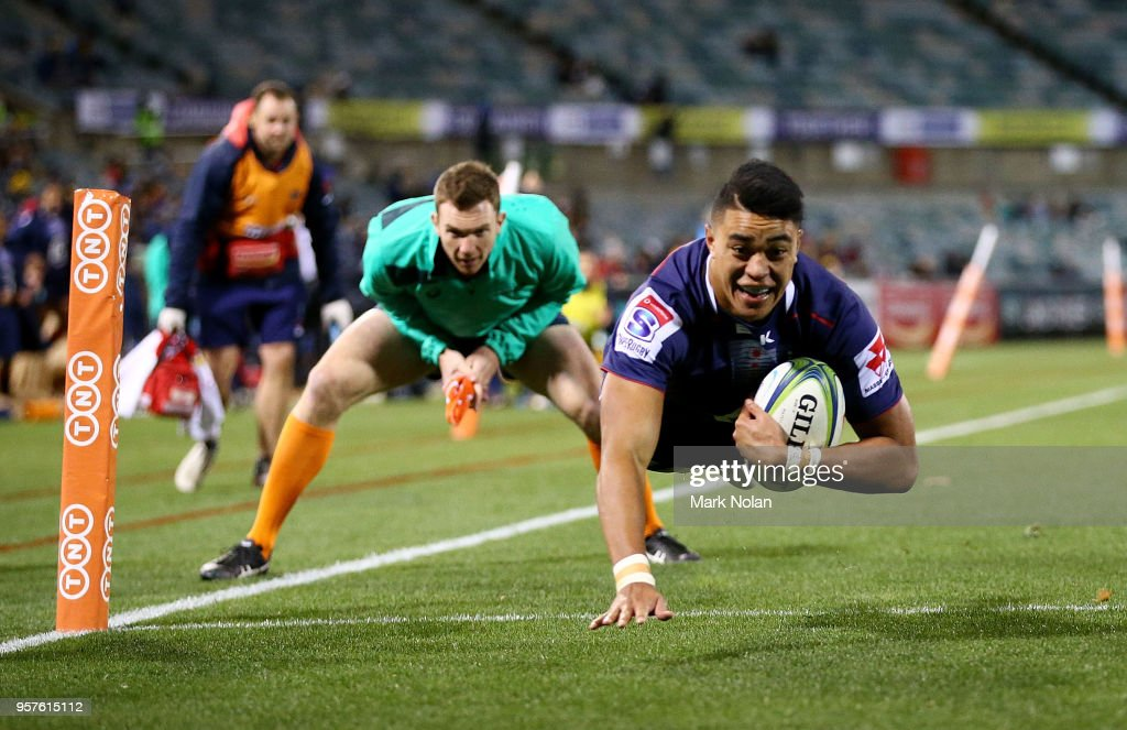 Semisi Tupou of the Rebels dives to score a try during the round 12 Super Rugby match between the Brumbies and the Rebels at GIO Stadium on May 12, 2018 in Canberra, Australia.