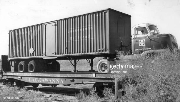 A semitrailer containing nearly 31000 pounds of nut meats from the General Foods Corp in Brooklyn N Y sits on a Santa Fe Railway siding waiting to be...