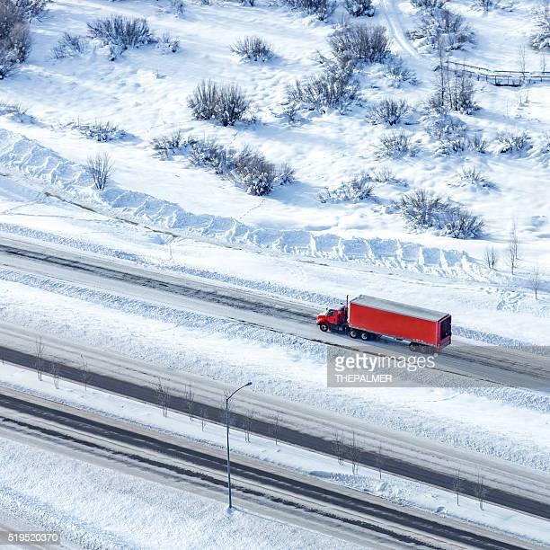 Semi-truck aerial shot