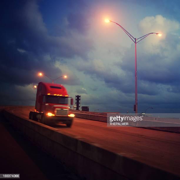 semi-truck at bridge