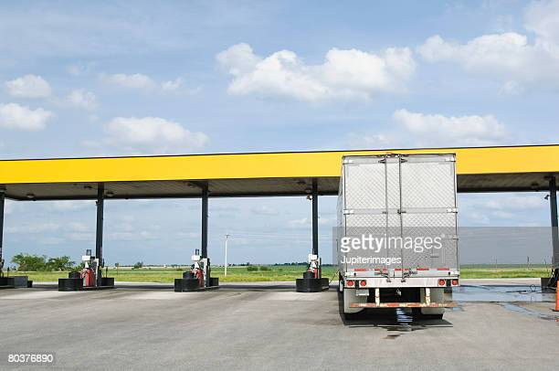 Semi-truck at gas station
