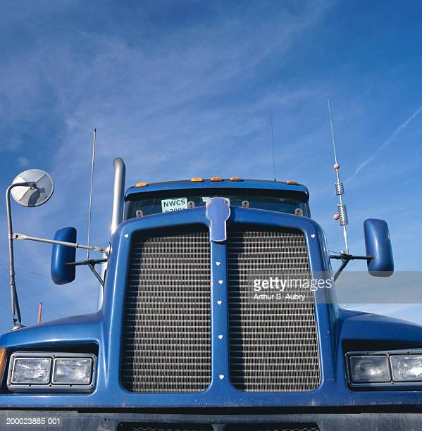 semi-truck, close-up of grill - vehicle grille stock pictures, royalty-free photos & images