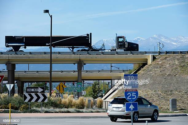 Semitruck drives northbound I25 over E Crossroads Blvd a little ways past the highway 34 exit Tuesday afternoon October 07 2014