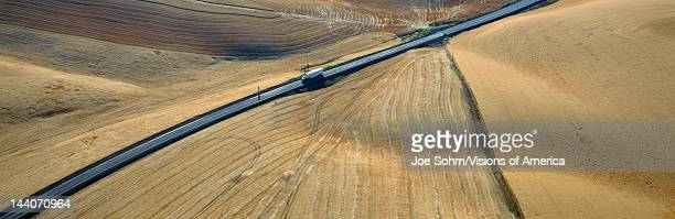 SemiTruck driving through Wheat Fields SE Washington