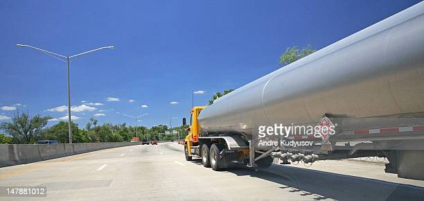 Semi-truck fuel tanker on a highway