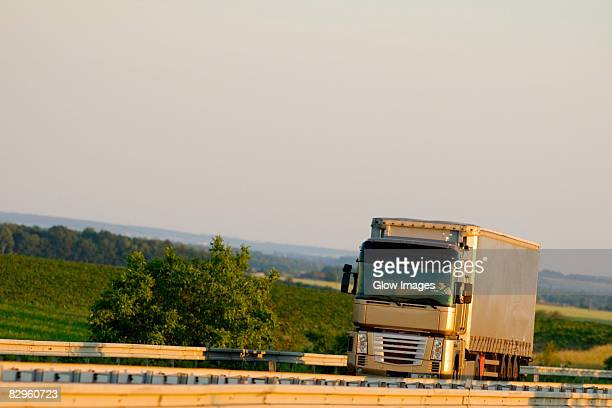 Semi-truck moving on the road, Loire Valley, France