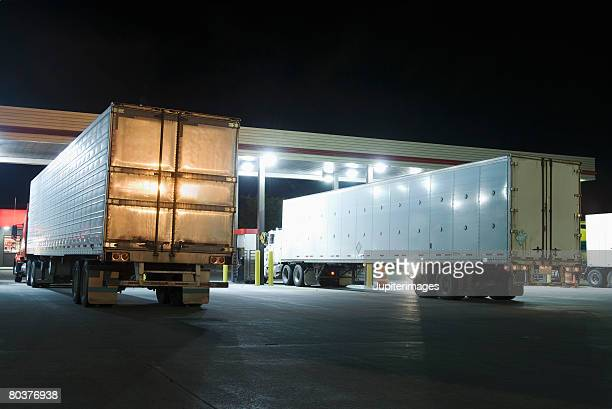 Semi-trucks at truck stop