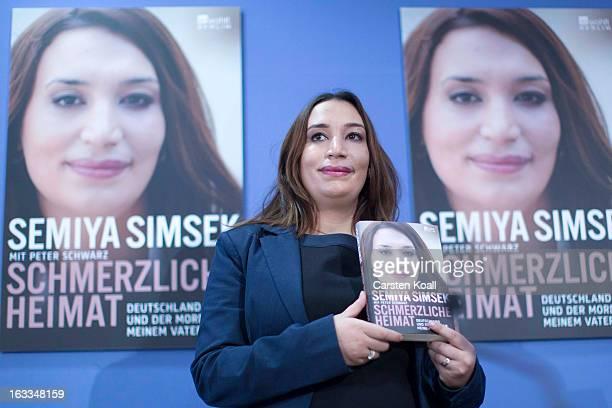 Semiya Simsek daughter of NSU murder victim Enver Simsek speaks to the media during the presentation of her book 'Schmerzliche Heimat de Deutschland...