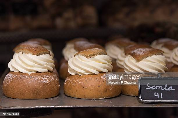 Semlor - a cream buns traditionally eaten on, or before, Shrove Tuesday in Scandinavia.