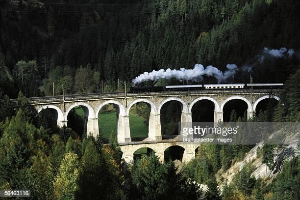 Semmering railway ancient steamer on viaduct over Kalte Rinne Semmering Lower Austria Photography about 1999 [Semmeringbahn Ein historischer Zug auf...