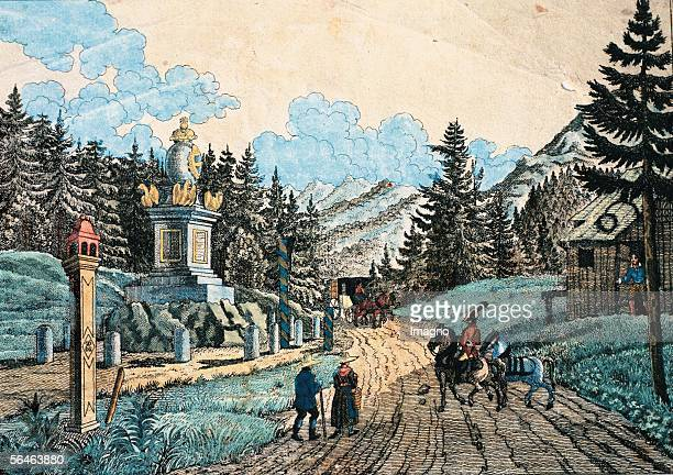 Semmering, Styria, Lower Austria: Boundary stone at Semmering. Colored Lithograph. Around 1845. The street leading over the Semmering was build...