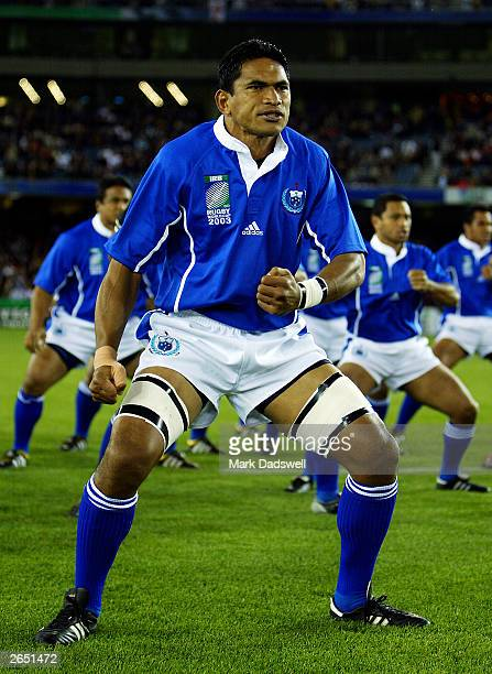 Semo Sititi the captain of Samoa leads his team in the haka during the Rugby World Cup Pool C match between England and Samoa at Telstra Dome October...