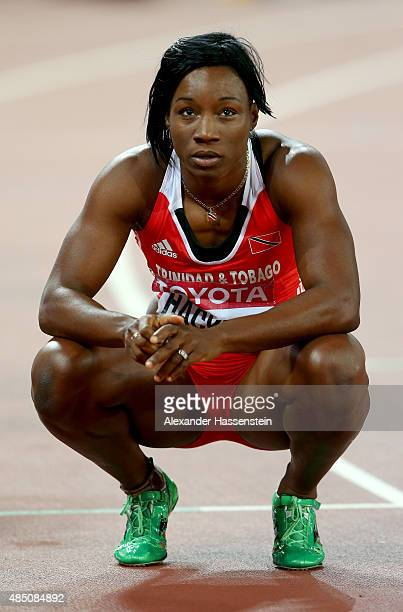 Semoy Hackett of Trinidad and Tobago competes in the Women's 100 metres semifinal during day three of the 15th IAAF World Athletics Championships...