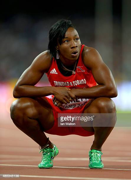 Semoy Hackett of Trinidad and Tobago reacts after competing in the Women's 200 metres semifinal during day six of the 15th IAAF World Athletics...