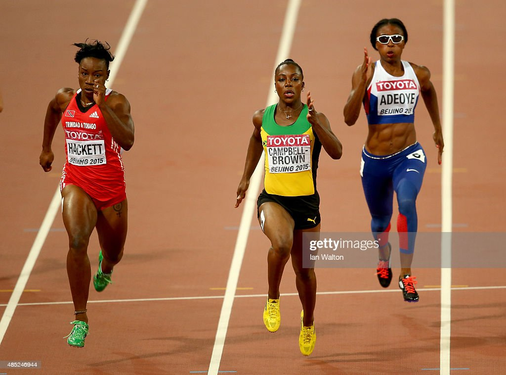 Semoy Hackett of Trinidad and Tobago, Veronica Campbell-Brown of Jamaica and Margaret Adeoye of Great Britain compete in the Women's 200 metres heats during day five of the 15th IAAF World Athletics Championships Beijing 2015 at Beijing National Stadium on August 26, 2015 in Beijing, China.