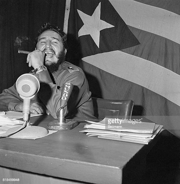 Semper Fidel. Havana: Cuban Prime Minister Fidel Castro appears to be highly pleased with some remark or other that he has just delivered during a...