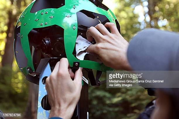 Sempervirens Fund volunteer Paul Davis cleans the lenses on the Google Trekker before heading out on the trails of Big Basin Redwood State Park on...