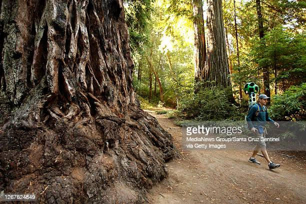 Sempervirens Fund volunteer Paul Davis maps the Sequoia Trail in Big Basin Redwoods State Park with a Google Trekker backpack on August 28, 2015....