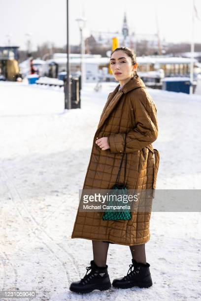 Semra Dedic wearing Prada, and Baum und Pferdgarten poses for a picture outside of Hotel Diplomat on the first day of Stockholm Fashion Week...