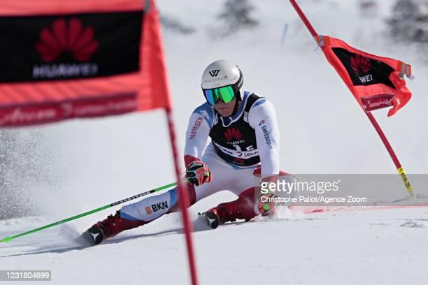 Semyel Bissig of Switzerland crashes out during the Audi FIS Alpine Ski World Cup Team Parallel Slalom on March 19, 2021 in Lenzerheide, Switzerland.