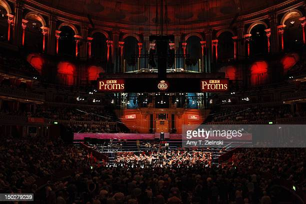 Semyon Bychkov conducts composer Franz Schubert's Symphony No 8 in B minor 'Unfinished' with the BBC Symphony Orchestra during the BBC Proms at Royal...