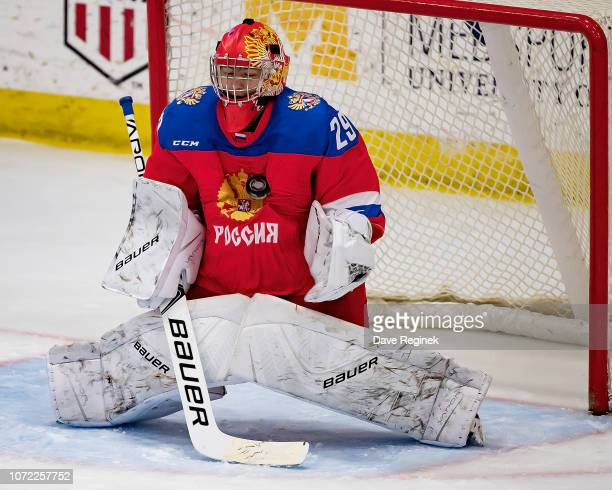 Semyon Sharabarin of the U17 Russian Nationals makes a chest save on a shot from the Slovakia Nationals during day2 of game one of the 2018 Under17...