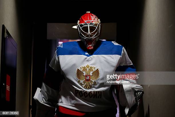 Semyon Varlamov of Team Russia leaves the ice after warms up prior to a game against Team North America during the World Cup of Hockey 2016 at Air...
