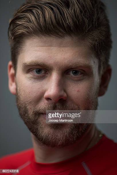 Semyon Varlamov of Team Russia poses for a photo after Team Russia training prior to World Cup Of Hockey 2016 session at Yubileyny Sports Palace on...