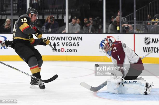 Semyon Varlamov of the Colorado Avalanche blocks a shot by Reilly Smith of the Vegas Golden Knights during the second period of their preseason game...