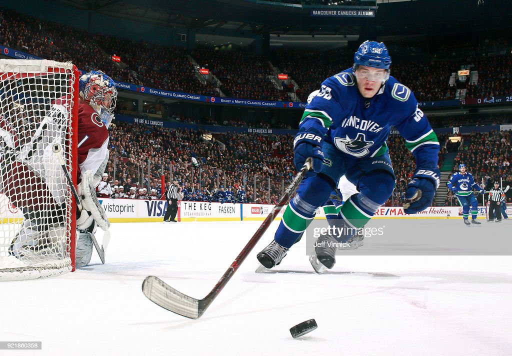 Semyon Varlamov #1 of the Colorado Avalanche looks on as Bo Horvat #53 of the Vancouver Canucks reaches for a loose puck during their NHL game at Rogers Arena February 20, 2018 in Vancouver, British Columbia, Canada. Colorado won 5-4.
