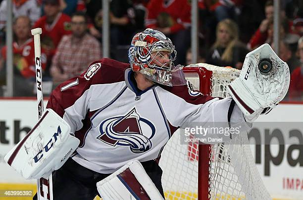 Semyon Varlamov of the Colorado Avalanche makes a glove save in the second period against the Chicago Blackhawks at the United Center on February 20...