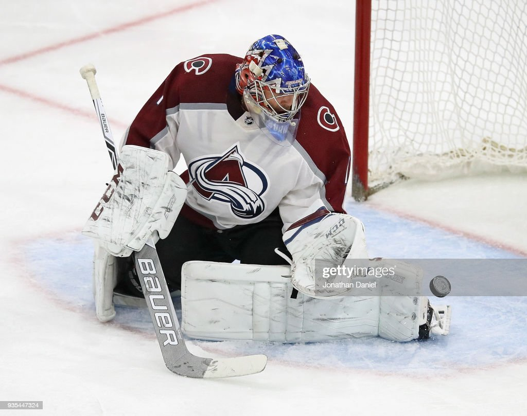 Semyon Varlamov #1 of the Colorado Avalanche makes a save against the Chicago Blackhawks at the United Center on March 20, 2018 in Chicago, Illinois. The Avalanche defeated the Blackhawks 5-1.