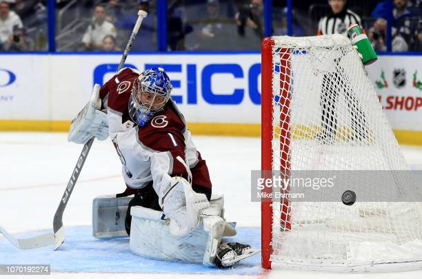 Semyon Varlamov of the Colorado Avalanche makes a save during a game against the Tampa Bay Lightning at Amalie Arena on December 8 2018 in Tampa...