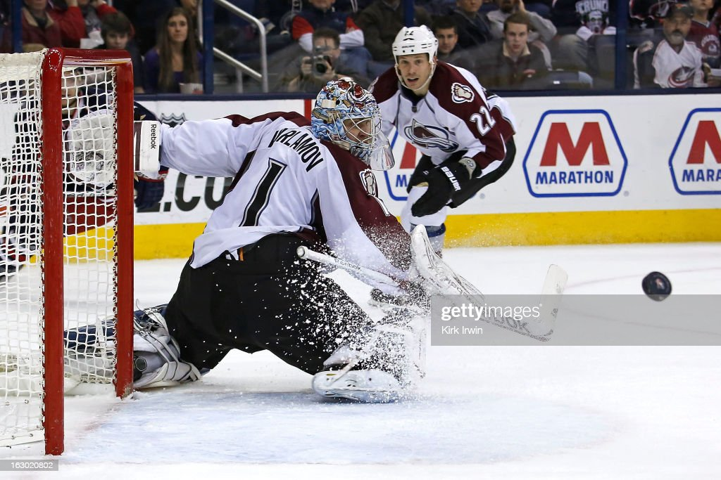 Semyon Varlamov #1 of the Colorado Avalanche makes a save during the second period against the Columbus Blue Jackets on March 3, 2013 at Nationwide Arena in Columbus, Ohio.