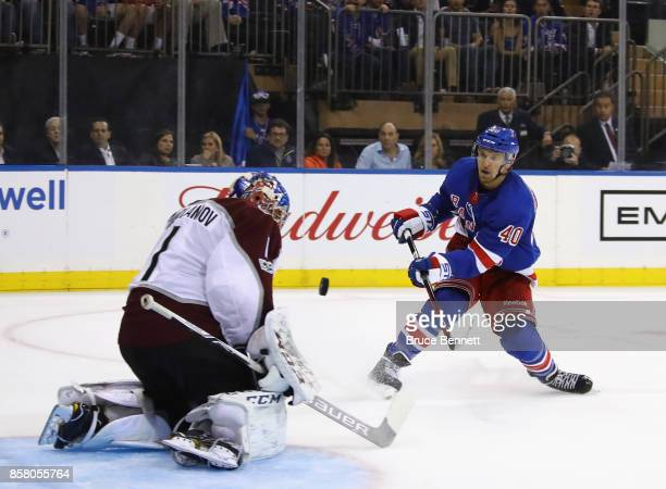 Semyon Varlamov of the Colorado Avalanche makes the second period save on Michael Grabner of the New York Rangers at Madison Square Garden on October...