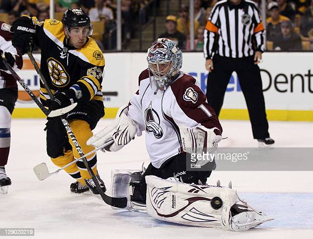 Semyon Varlamov of the Colorado Avalanche stops a shot by Brad Marchand of the Boston Bruins on October 10 2011 at TD Garden in Boston Massachusetts